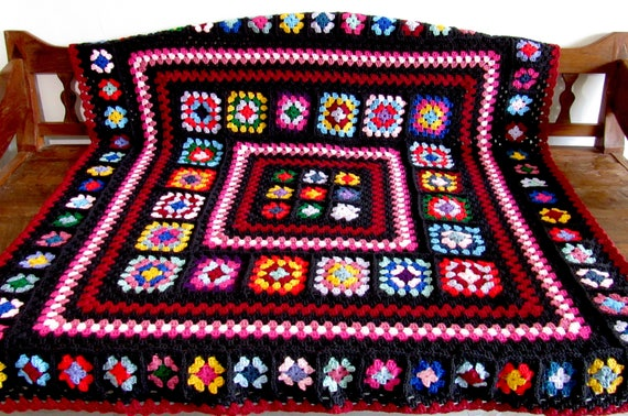 Handmade Crochet classic granny square blanket, afghan, throw granny squares 58 by 58 inch groovy, funky country