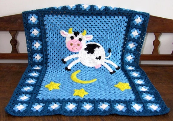 Made to order, crocheted - the cow jumped over the moon- baby nursery blanket