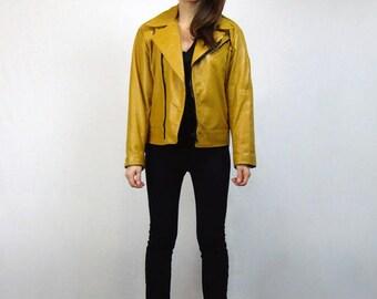 Mustard Yellow Leather Motorcycle Jacket 80s Unisex Biker Coat - Medium to Large M L