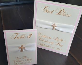 Table sign,  8x10 COMMUNION/CROSS Fancy white,pink Shimmer,gold Swarovski Crystal Cross.God Bless. BAPTISM, christening