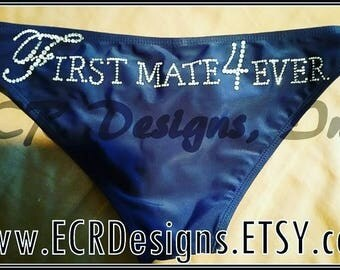 First Mate 4 Ever Nautical Bikini, Rhinestones, Just Married, Bachelorette party/wedding day gift,lingerie,bridal shower, bride.