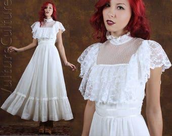Vintage 70s Boho Hippie Dress Wedding White Airy Angel Goddess Maxi XS/S
