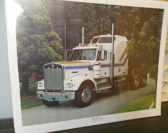1976 rare   power graphics all american kenworth vit 200  truck  um up posters