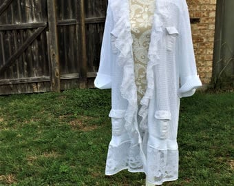 Altered White Crocheted Long Cardigan, Cotton Ruffled Lace Trimmed, Size 1X, Shabby Chic Romantic Long White Sweater, Feminine,Multi Pockets