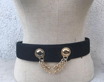 Vintage black suede belt with gold chain adornment size m