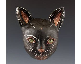 Cat - Ceramic Wall Mask by Jenny Mendes