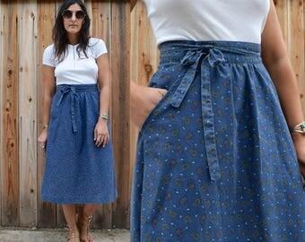 Vintage 70s PAISLEY Print WRAP Skirt S