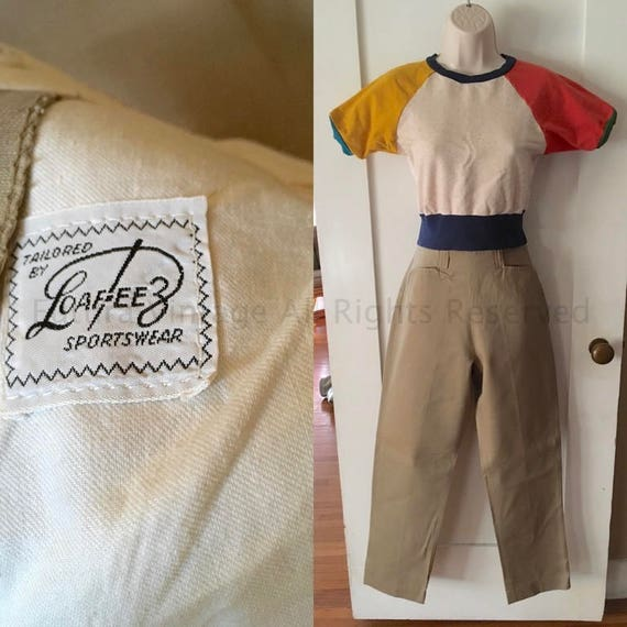 1950s LOAFEEZ Sportswear High Waist Khaki Pants with Pockets Side Metal Zipper and Belt Loops-XS S