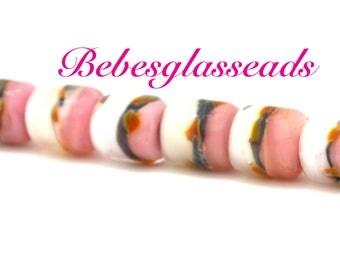 Boro Pink White Glass Barrels  Lampwork Bebesbeads (7)