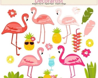 ON SALE Tropical flamingo Clip Art, Digital Clip Art for all use, INSTANT Download