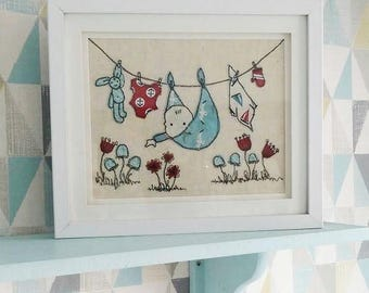 New Baby Personalised Handmade Appliqué Washing Line Framed embroidery baby shower its a boy its a girl nursery decor