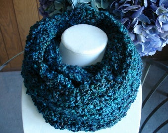 Teal Cowl Scarf, Infinity Scarf, Crocheted Scarf, Winter Scarf