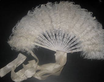 Small Ostrich Feather Fan With Silk Bow
