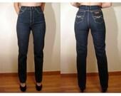 VA VA Voom...vtg70s High Waist Samson Dark Denim Threes Company Skinny Fithe Jean's...sz XS 24 waist 37 hip