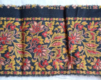 Antique 1800's Fabric - Bohemian Floral Trim - 2 Yards