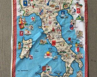 Vintage Souvenir Italy Map Tea Towel