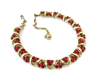 MAC ALLAN Red Rhinestone Necklace | Signed Gold-tone Choker | Vintage 1950s Jewelry