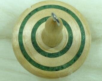 Lluna Hand-Turned Maple / Fuchsite Drop Spindle-Top Whorl 21 Grams