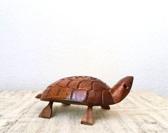 Vintage Carved Wooden Turtle Figurine, Jamaica