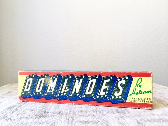 Vintage Wood Dominoes, Halsam Set No. 622, 28 Pieces