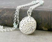 Sterling Silver Locket, Celtic Knot Necklace, Round Locket Pendant Oil Diffuser Necklace, Aromatherapy Locket, Essential Oil Diffuser Locket