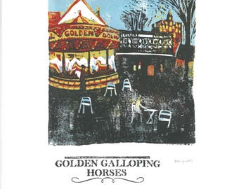 Golden Galloping Horses Lino and Letterpress Print