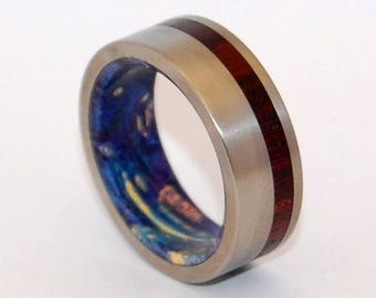 Titanium Wedding Band, Wooden Wedding Ring, Titanium Wedding Ring, Wedding Band, Wedding Ring, something blue - PRIVATE UNIVERSE DARK