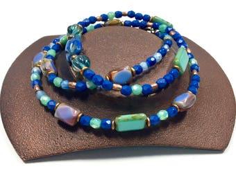 Cobalt Blue Beaded Wrap Bracelet, Czech Glass Beaded Necklace, Casual Blue Teal Jewelry