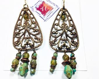 Lime Moss Green Boho Earrings, Brass Filigree Bohemian Earrings, Dangle Earrings, Green Earrings, Hippie
