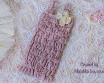 Dusty Rose Cream Lace Petti Romper, Baby Girl First Birthday Mauve Ivory Fabric Flowers, Ruffles, Blush 6 month photos, Beauty Pageant