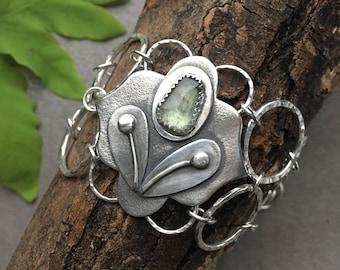 Sterling Silver Statement Bracelet with Moss Aquamarine Gemstone - Big Hammered Silver Bracelet - Botanical Silver Jewelry - Hammered Silver