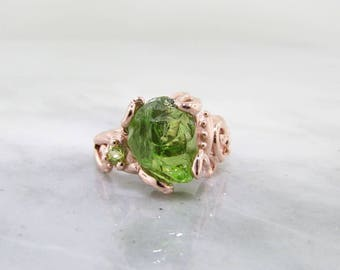 Raw Peridot 14k Rose Gold Ring, Baroque Swirls, Handmade Ring