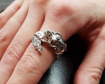 Mermaid Ring in Sterling Silver, Wraparound Band with Flowing Mermaid Hair