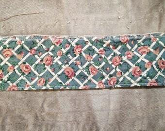 Vintage Ribbon. Vintage Wire Ribbon. Pink Blue Ribbon. 1970s Ribbon. Vintage Trim. Pink Roses. Vintage Supplies. Vintage Sewing Supplies
