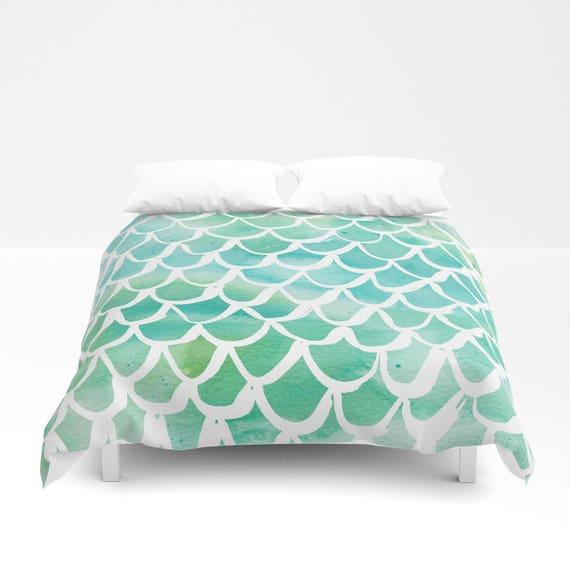 Mermaid Duvet cover - Aqua Watercolor Duvet cover - Mermaid bedding - Twin XL duvet - queen duvet cover - king duvet cover - Twin full duvet