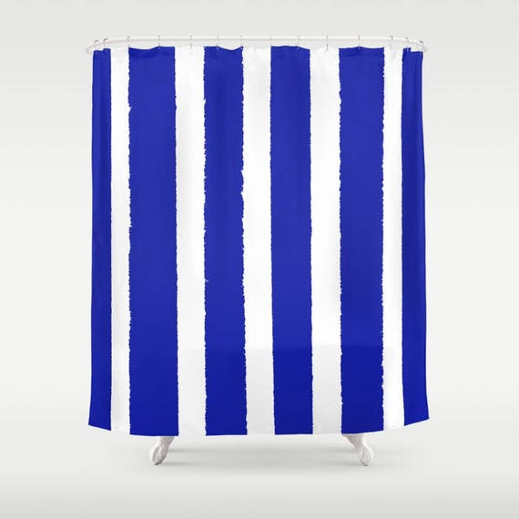 Azure Blue Shower Curtain - Cobalt Shower Curtain - Modern Shower Curtain - Shower Curtain - Striped Shower Curtain - Sapphire Blue