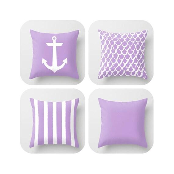 OUTDOOR Throw Pillow - Lavender Mermaid Pillow - Coastal Patio Cushion - Anchor Pillow - Stripe Pillow - 16 18 20 inch - Amethyst Pillow