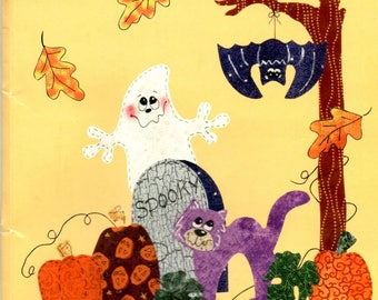 Spooky & Gang Kit Iron On Applique Ghost Bat Green and Fall Leaves Pumpkins Black Cat Tomb Grave Stone Craft Leaflet