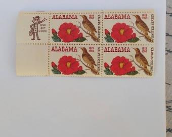 Alabama Statehood Stamps, Four Stamp Block, Vintage, 1969, Free US Shipping