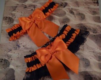 Orange Black Satin Black Lace Wedding Bridal Garter Toss Set