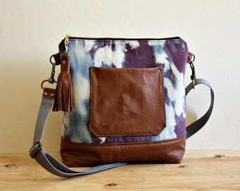 Crossbody Denim Purse handbag satchel Leather trim hand dyed --Ready to Ship--