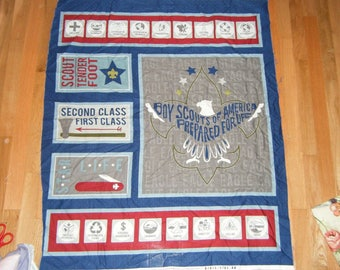 Sewing Panel Boy Scouts of America BSA Prepared for Life Badges Wildlife Appliques Fabric Pillows Mats craft show Frame nap mat play mat