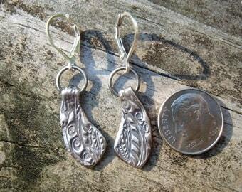 Solid Fine Silver art deco Earrings OOAK