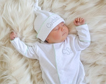 Unisex Baby Clothes-Green Dot Coming Home Outfit-Jamie's Converter Gown-Pima Cotton-Personalized baby-Gender Neutral Baby Shower Gift-baby