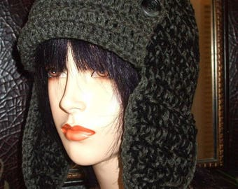 Hand Crochet Aviator Hat with Earflaps - Black and Grey Mix, Crochet Hat, Winter Hat, Womens Hat, Mens Hat, Winter Accessories