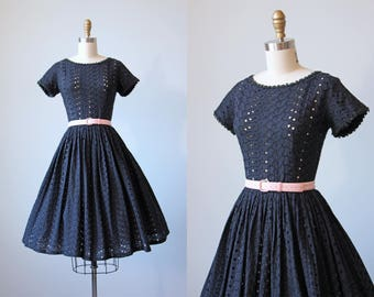 50s Dress - Vintage 1950s Dress - Black Embroidered Eyelet Full Skirt Cotton Sundress XS S - Modern Love Dress
