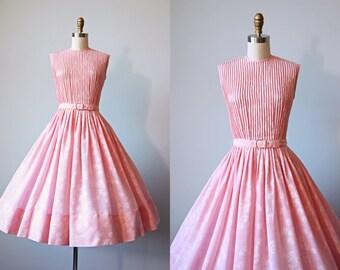50s Dress - Vintage 1950s Dress - Blush Pink Cotton Voile Pintucked Flower Print Full Skirt Sundress S - Laiglon Dress