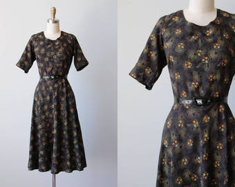 Vintage 1940s Dress - 40s Dress - Black w Vivid Deco Print Rayon Swing Dress M L - Windy Pinwheel Dress