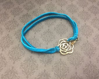 blue leather bracelet- rose bracelet- 65 roses- gold roses- BREATHE BRAVELY- Cystic Fibrosis Research- sINgSPIRE- Donation to CF- Support cf