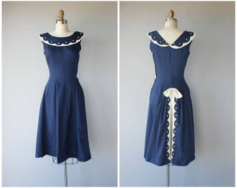 Vintage 1950s Dress | 50s Navy Blue Day Dress | 1950s Cotton Day Dress | 50s Day Dress | 50s Dress - (x-small)